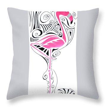 Fanciful Flamingo Throw Pillow