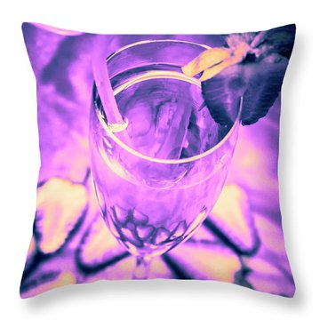 Fancy Champagne With Sliced Strawberries Throw Pillow