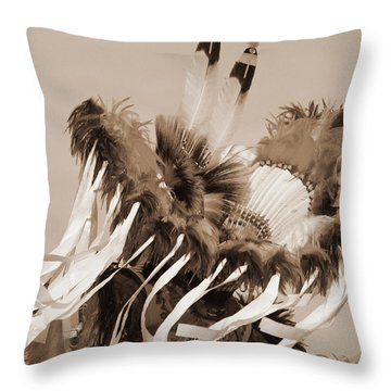 Throw Pillow featuring the photograph Fancy Dancer In Sepia by Heidi Hermes
