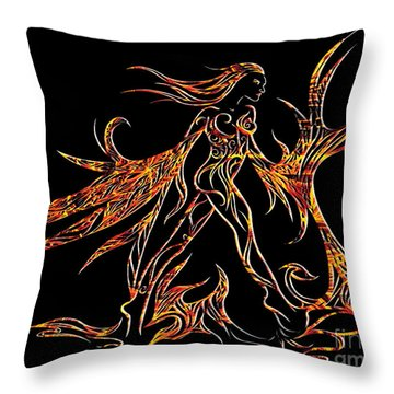 Throw Pillow featuring the drawing Fancy Flight On Fire by Jamie Lynn