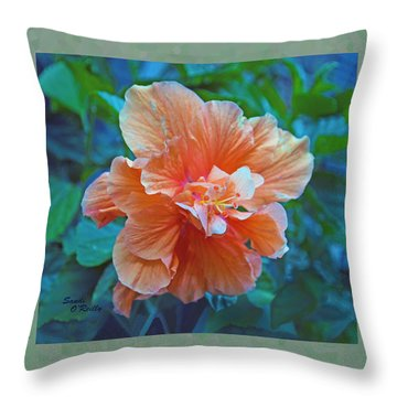 Fancy Peach Hibiscus Throw Pillow