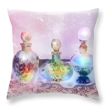 Fancy Perfume Bottles Throw Pillow by Arline Wagner