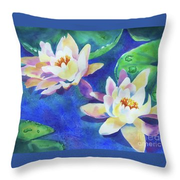 Throw Pillow featuring the painting Fancy Waterlilies by Kathy Braud
