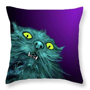 Fang Dizzycat Throw Pillow