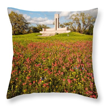 Fannin Monument And Memorial With Wildflowers In Goliad - Coastal Bend South Texas Throw Pillow