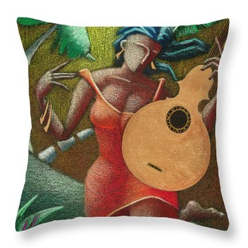 Throw Pillow featuring the painting Fantasia Boricua by Oscar Ortiz