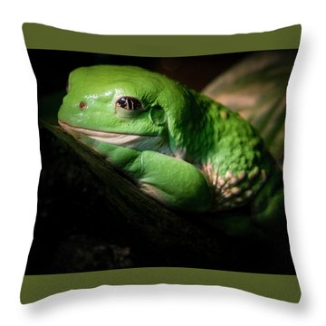 Throw Pillow featuring the photograph Fantastic Green Frog by Jean Noren