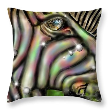 Fantastic Zebra Throw Pillow by Darren Cannell
