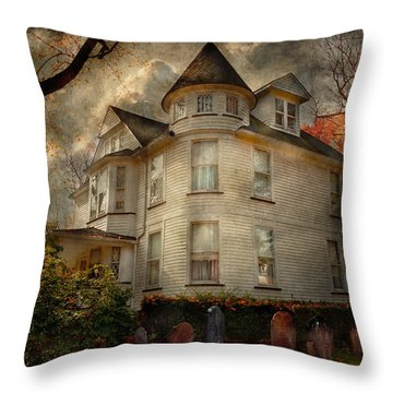 Fantasy - Haunted - The Caretakers House Throw Pillow by Mike Savad