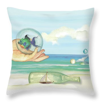 Fantasy At The Beach Throw Pillow