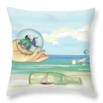 Fantasy At The Beach Throw Pillow