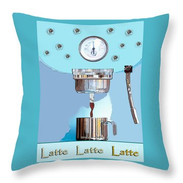 Throw Pillow featuring the painting Fantasy Espresso Machine by Marian Cates