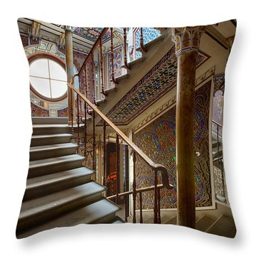 Fantasy Fairytale Palace - The Stairs Throw Pillow by Dirk Ercken