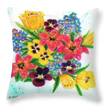 Fantasy Flowers #233 Throw Pillow by Donald k Hall