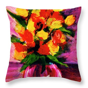 Fantasy Flowers Still Life #118, Throw Pillow by Donald k Hall