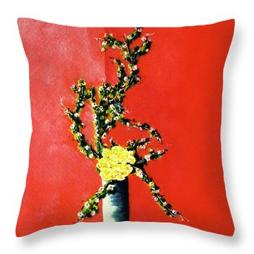 Fantasy Flowers Still Life #162 Throw Pillow by Donald k Hall