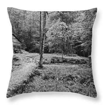 Fantasy Forest In Black And White Throw Pillow by DigiArt Diaries by Vicky B Fuller