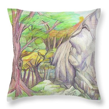Fantasy Forest Rock Throw Pillow by Ruth Renshaw