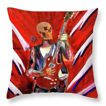 Fantasy Heavy Metal Skull Guitarist Throw Pillow