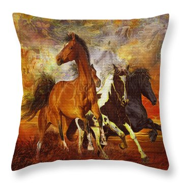 Fantasy Horse Visions Throw Pillow by Steve Roberts