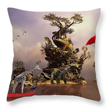 Fantasy Island Resorts Collection Throw Pillow by Marvin Blaine