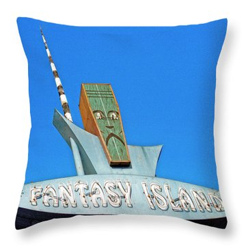 Throw Pillow featuring the photograph Fantasy Island Sign by Matthew Bamberg