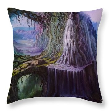 Throw Pillow featuring the painting Fantasy Land by Rosario Piazza