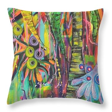 Throw Pillow featuring the painting Fantasy Rainforest by Lyn Olsen