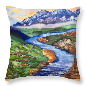 Throw Pillow featuring the painting Fantasy by Saundra Johnson