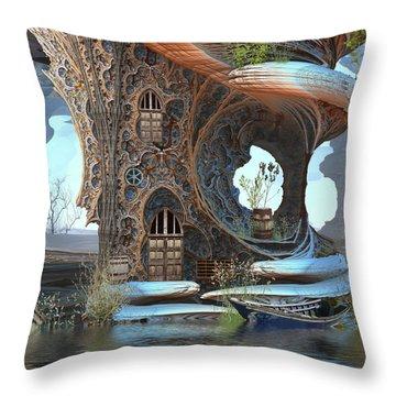 Fantasy Tree Cottage Throw Pillow