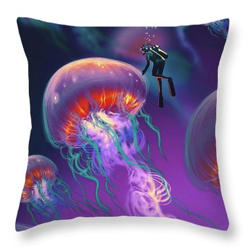 Fantasy Underworld Throw Pillow