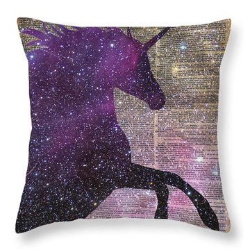 Fantasy Unicorn In The Space Throw Pillow by Jacob Kuch