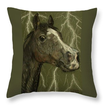 Throw Pillow featuring the drawing Fantasy Xanthus by Melita Safran