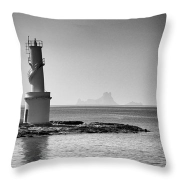 Far De La Savina Lighthouse, Formentera Throw Pillow by John Edwards
