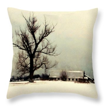 Throw Pillow featuring the photograph Far From Home - Winter Barn by Janine Riley