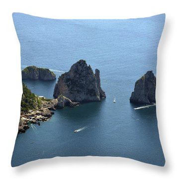 Faraglioni A Capri  Throw Pillow