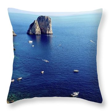 Throw Pillow featuring the digital art Faraglioni Rocks, Isle Of Capri by Joseph Hendrix