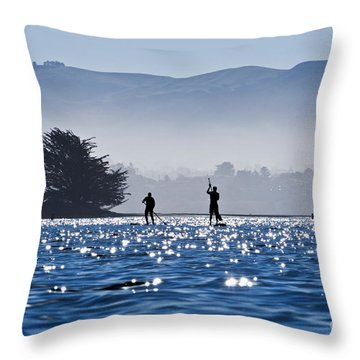 Faraway Paddle Boarders In Morro Bay Throw Pillow by Bill Brennan - Printscapes