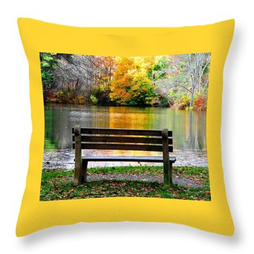 Farewell Autumn Throw Pillow by Angela Davies