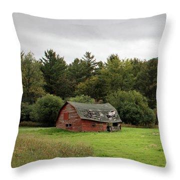 Farewell Red Barn Throw Pillow