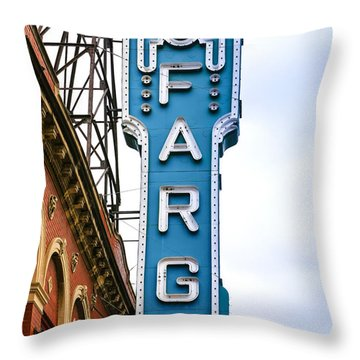 Fargo Blue Theater Sign Throw Pillow