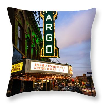 Fargo Theater And Downtown Along Broadway Drive Throw Pillow by Paul Velgos