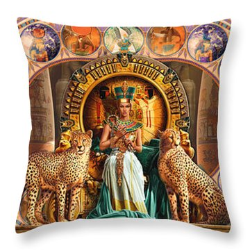 Farley Egyptian Triptych Throw Pillow by Andrew Farley