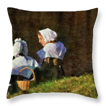 Farm - Farmer - The Young Maidens Throw Pillow by Mike Savad