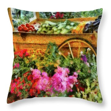 Farm - Food - At The Farmers Market Throw Pillow by Mike Savad