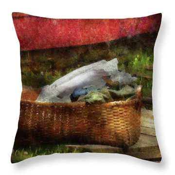 Farm - Laundry  Throw Pillow by Mike Savad