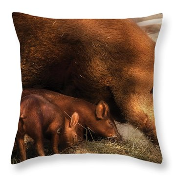 Farm - Pig - Family Bonds Throw Pillow by Mike Savad
