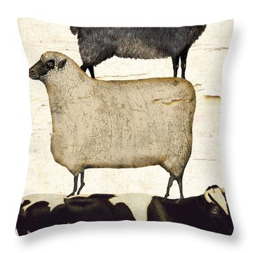 Farm Animals Pileup Throw Pillow