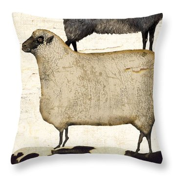 Farm Animals Pileup Throw Pillow by Mindy Sommers