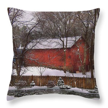Farm - Barn - Winter In The Country  Throw Pillow